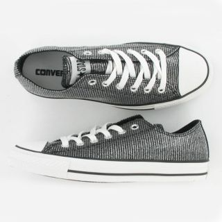 nwob CONVERSE black Chuck Taylor Ox Shimmer Fabric 5 7
