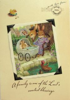 Holly Pond Hill Bunny Rabbits New Baby Carriage Card