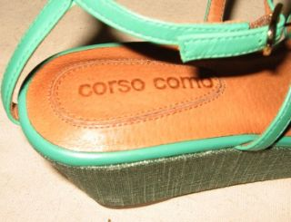 corso como green leather w linen wedge shoes sz 6
