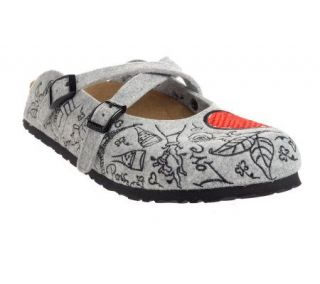 Birkis Valentines Day Felt Cross Strap Clogs —