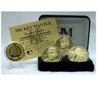 Mickey Mantle 23KT Gold Plated Commemorative Coin Set —