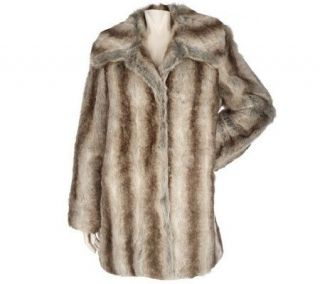 Dennis Basso Printed Faux Fur Coat with Convertible Collar —