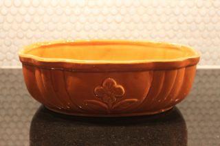 Vintage Cookson Pottery USA Oval Orange Planter 861 Roseville Ohio