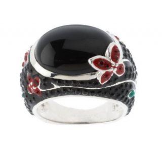 David Sigal Sterling Onyx & Crystal Flower Ring —