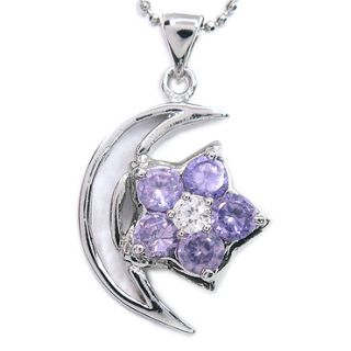 FASHION LADY JEWELRY STAR CUT PURPLE AMETHYST WHITE GOLD P PENDANT