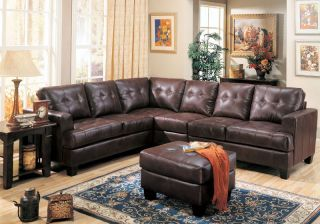 Contemporary Bonded Leather Sectional Sofa Living Room