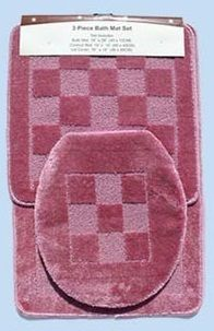 Pc Bathroom Mat Rug SET Bath and Contour Rug Mat Toilet Lid Cover