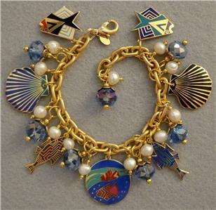 LAUREL BURCH FISH & SEA SHELLS Vintage/Retro Charm Bracelet OOK