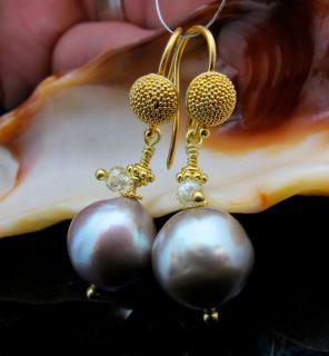 Solid 22K Gold Sea of Cortez Rainbow Pearl Diamond Earrings 9 8x10 8mm