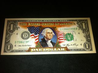 COLORIZED $1 DOLLAR BILL NICE GIFT UNCIRCULATED* ORIGINAL MINT NOTE