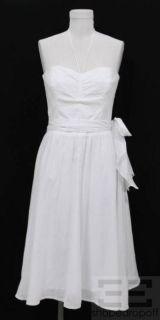 Shoshanna White Cotton Tie Waist Halter Dress Size 6 New