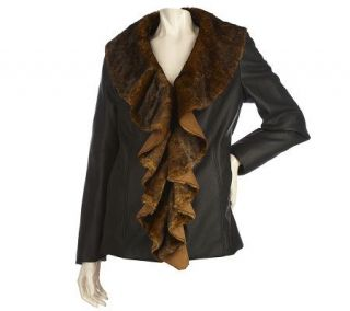 Dennis Basso Faux Leather Coat with Faux Fur Cascade Collar   A211141