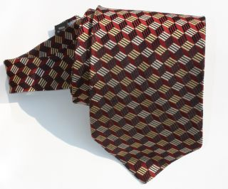 Alexander Julian Colours Men Silk Tie Gold Burgundy Silver 60 Long