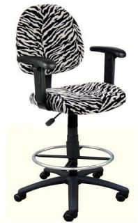 New Zebra Print Office Drafting Bar Counter Stools Chairs with