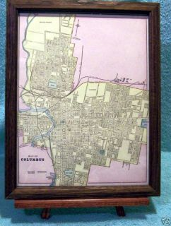 ANTIQUE FRAMED MAP THE CITY OF COLUMBUS OHIO 1889 W RAILROADS ASYLUMS