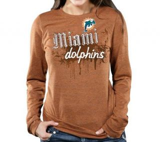 NFL Miami Dolphins Womens Long Sleeve TriblendT Shirt —