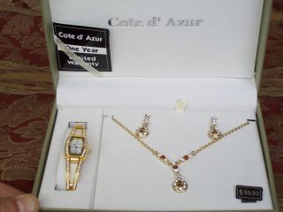 COTE DAZUR WATCH NECKLACE EARRINGS SET Enlarge