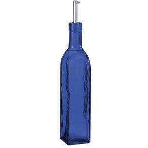 DEPRESSION STYLE BLUE COBALT GLASS COOKING OIL DISPENSER BOTTLE NEW