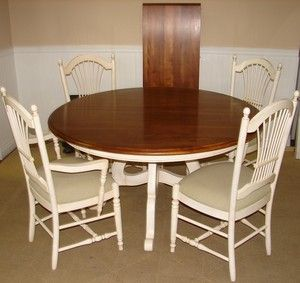 ETHAN ALLEN COUNTRY FRENCH WHITE DINING ROOM TABLE AND CHAIRS, KITCHEN