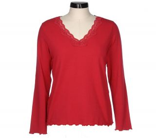 Denim & Co. Long Sleeve V neck Stretch Knit Top with Lace Detail