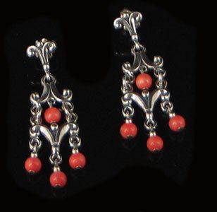 Sterling Silver Natural Pink Coral Chandelier Earrings