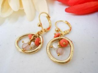 Gold Tone Coral Pink Faux Pearl Bead Dangle Earrings M2100