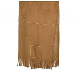 Dennis Basso Faux Suede Fringed Wrap with Pockets —