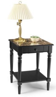 French Country Wood Marble Style Lamp Night End Table