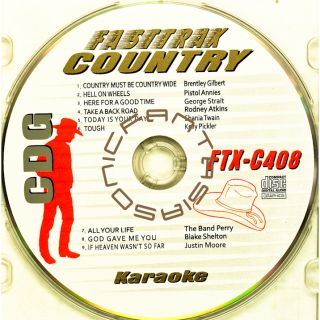 COUNTRY MUSIC KARAOKE CD FAST TRAX FTX 408 CDG 2011 ARTIST SONGS PAPER