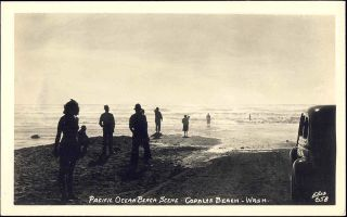 click v151 copalis beach wa pacific ocean scene 1940s rppc