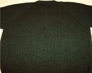 Courtenay Mens 100 Cashmere Cable Knit Sweater Dark Green Size L
