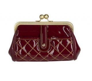 Maxx New York Italian Patent Quilted Kiss Lock Coin Purse —