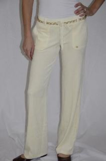 Authentic Juicy Couture Gold Chain Belted Velour Pant Angel Cream