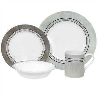 16 PC Corelle Impressions Pewter Dinnerware Set New