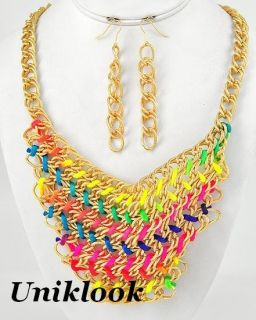 Lustrous Chunky Gold Acrylic Reef Coral Branch Bib Fashion Necklace