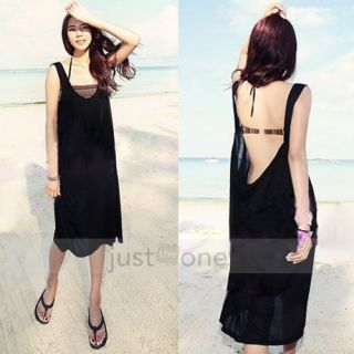 Fashion Women Lady Loose Backless Bikini Swimwear Cover Up Casual