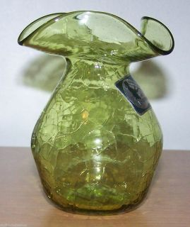 Beautiful Green Crackle Glass Vase Hand Blown at Jamestown VA