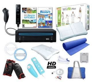 Nintendo Wii Black Sports Bundle with Wii Fit Plus and More —