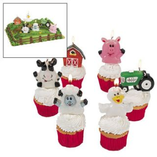 Cake Candles Green Tractor Animals Country Cowgirl Cowboy Party