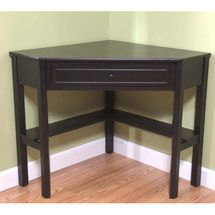 Traditional Corner Solid Wood Desk Elegant Black Office Desk
