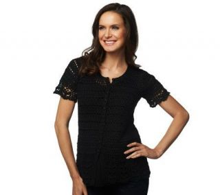 Liz Claiborne New York Short Sleeve Crochet Button Down Cardigan