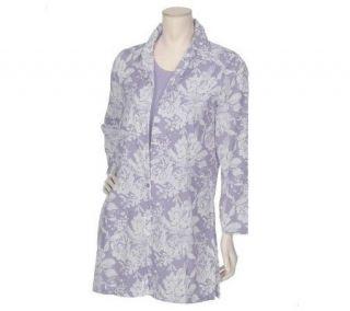 Susan Graver Soft Print Sheer Cotton Long Shirt & Knit Tank —