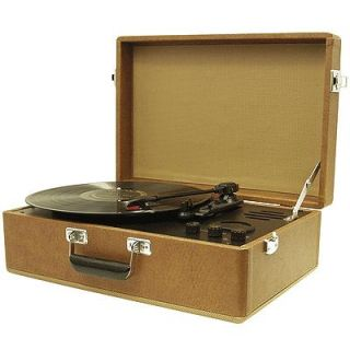 crosley cr50 portable record player brown and tweed