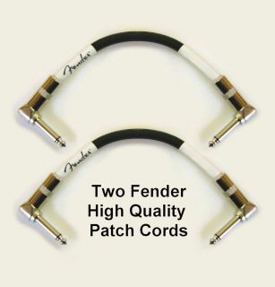 Two Fender High Quality Patch Cords 90 Degree Ends Shielded Instrument
