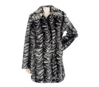 Dennis Basso Printed Tiger Faux Fur Coat with Wing Collar —