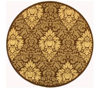 Courtyard Patio Damask Rug with Sisal Weave 67 Round —