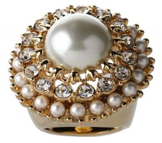 Kenneth Jay Lanes Simulated Pearl & Crystal Ring —
