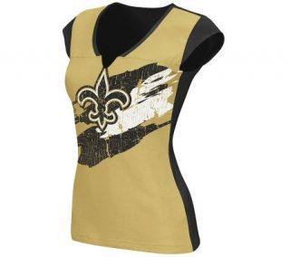 NFL New Orleans Saints Womens Face Paint Split Neck T Shirt