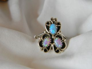 sterling silver Navajo ladies ring 3 pieces pink and blue fire opals