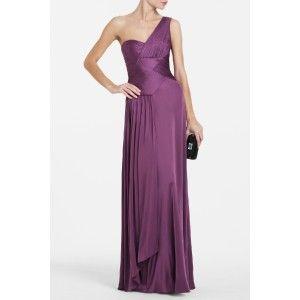 BCBG Max Azria Concord Grape Nikita 1 Shoulder Jersey Maxi Dress Gown